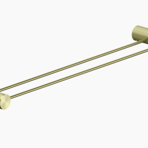NERO Opal Double Towel Rail 600mm – Brushed Gold