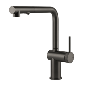 Inedito Pull Out Dual Function Kitchen Mixer – Black-metal-brushed