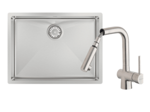 Alfresco 540 Large Bowl Sink with Drain Tray & Laios Pull Out Kitchen Mixer