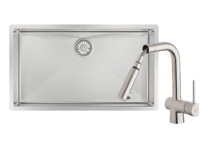 Alfresco 700 Large Bowl Sink with Drain Tray & Laios Pull Out Kitchen Mixer