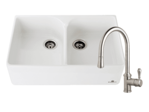 Chambord Clotaire Double Bowl Sink & 400674 Kitchen Mixer in Brushed Nickel