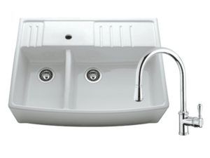 Chambord Clotaire Large Double Sink & 400674 Kitchen Mixer in Chrome