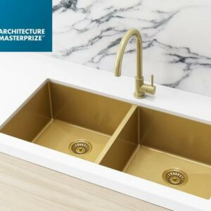 Meir Kitchen Sink – Double Bowl 860 x 440 – Brushed Bronze Gold