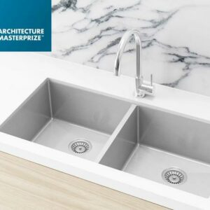 Meir Kitchen Sink – Double Bowl 860 x 440 – PVD – PVD Brushed Nickel