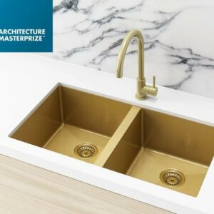 Meir Kitchen Sink – Double Bowl 760 x 440 – Brushed Bronze Gold