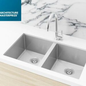 Meir Kitchen Sink – Double Bowl 760 x 440 – PVD – PVD Brushed Nickel