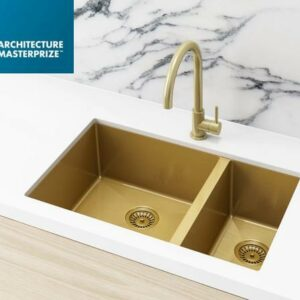 Meir Kitchen Sink – One and Half Bowl 670 x 440 – Brushed Bronze Gold