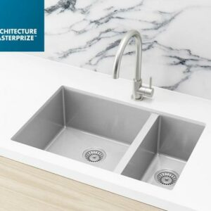 Meir Kitchen Sink – One and Half Bowl 670 x 440 – PVD Brushed Nickel